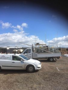 Thirsk Scaffolding Progress and vans North Yorkshire North East England