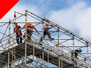Thirsk Scaffolders building installation North Yorkshire North East England